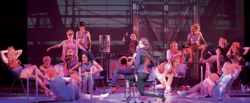 Bad Girls The Musical. Book by Maureen Chadwick & Ann McManus. Music & Lyrics by Kath Gotts. Production Photo © Catherine Ashmore from the West End production at the Garrick Theatre, 2007. Directed by Maggie Norris. Sally Dexter (centre stage) and cast.